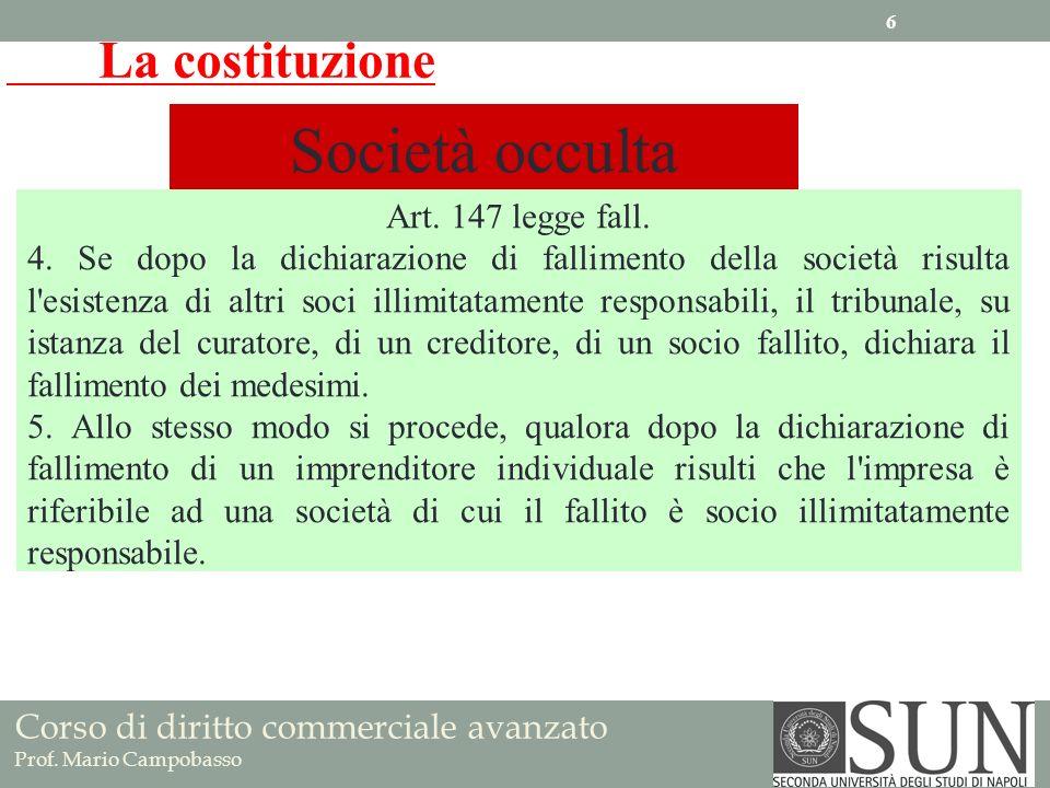 Società occulta La costituzione Art. 147 legge fall.