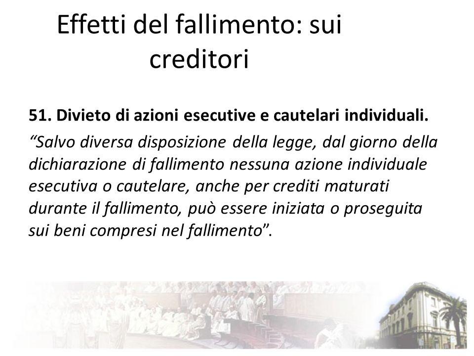 Effetti del fallimento: sui creditori