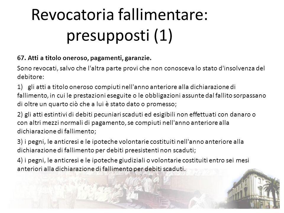 Revocatoria fallimentare: presupposti (1)