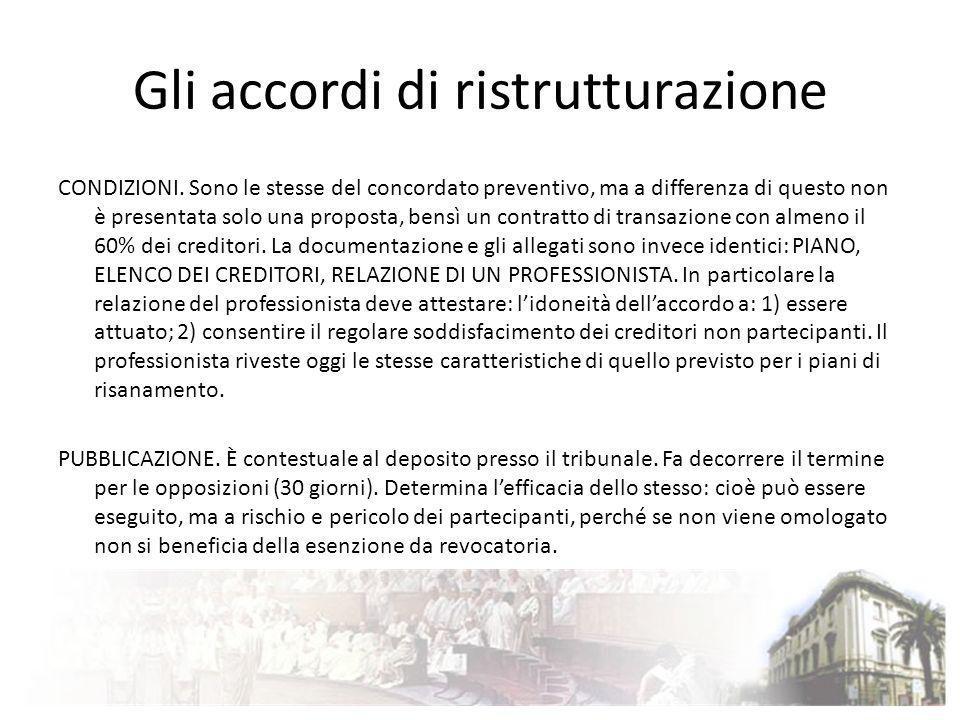 Gli accordi di ristrutturazione