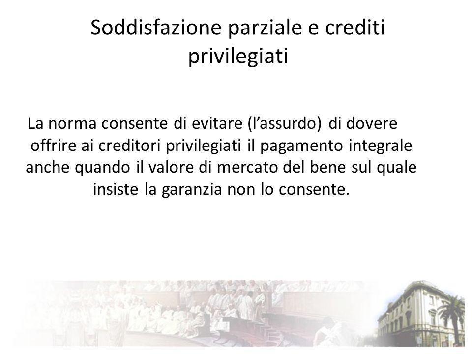 Soddisfazione parziale e crediti privilegiati