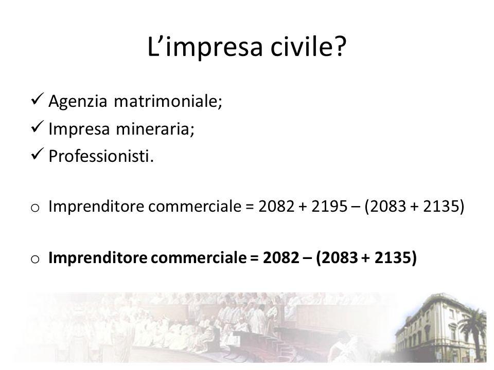 L'impresa civile Agenzia matrimoniale; Impresa mineraria;
