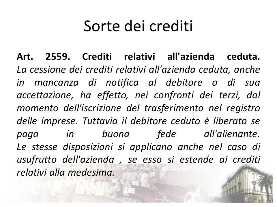 Sorte dei crediti