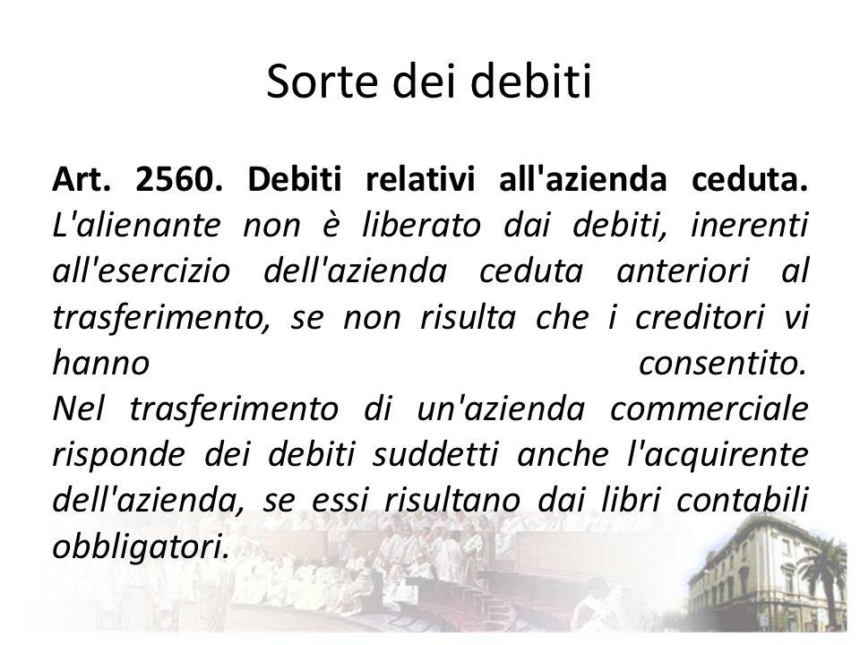 Sorte dei debiti