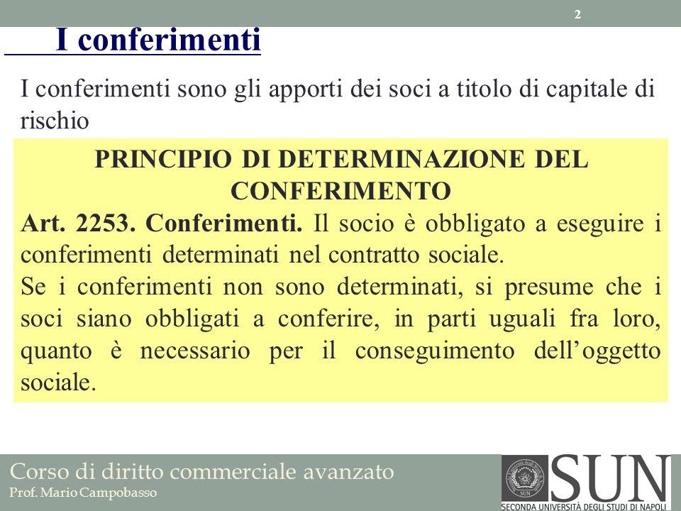 PRINCIPIO DI DETERMINAZIONE DEL CONFERIMENTO