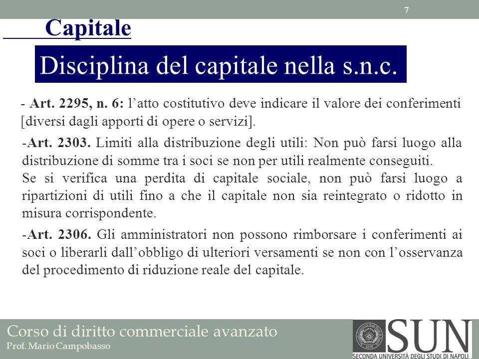 Disciplina del capitale nella s.n.c.