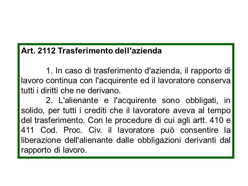 Art. 2112 Trasferimento dell azienda