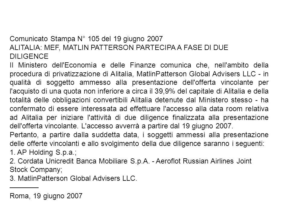 Comunicato Stampa N° 105 del 19 giugno 2007