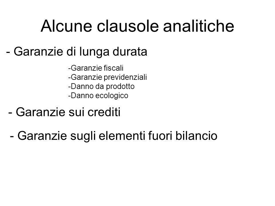 Alcune clausole analitiche