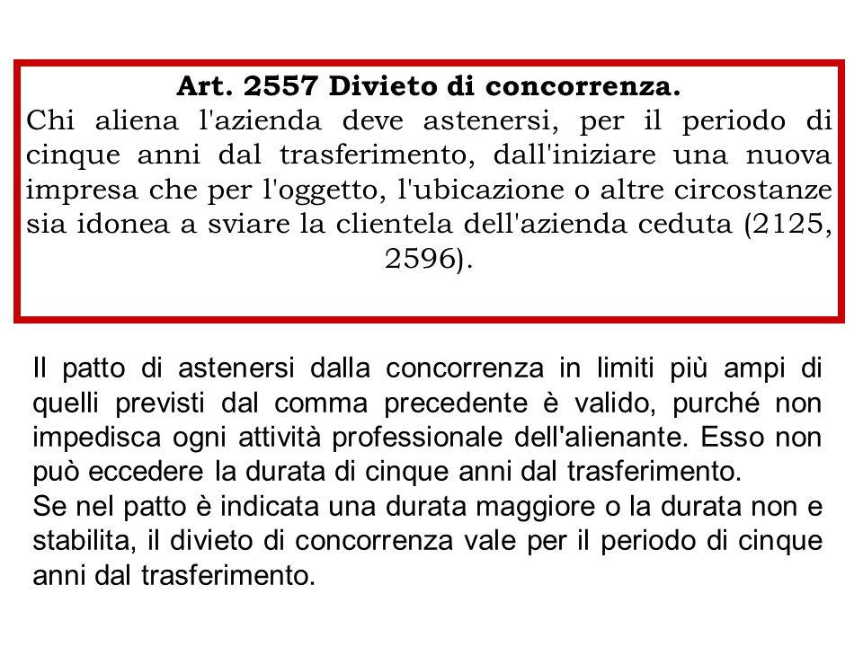 Art. 2557 Divieto di concorrenza.