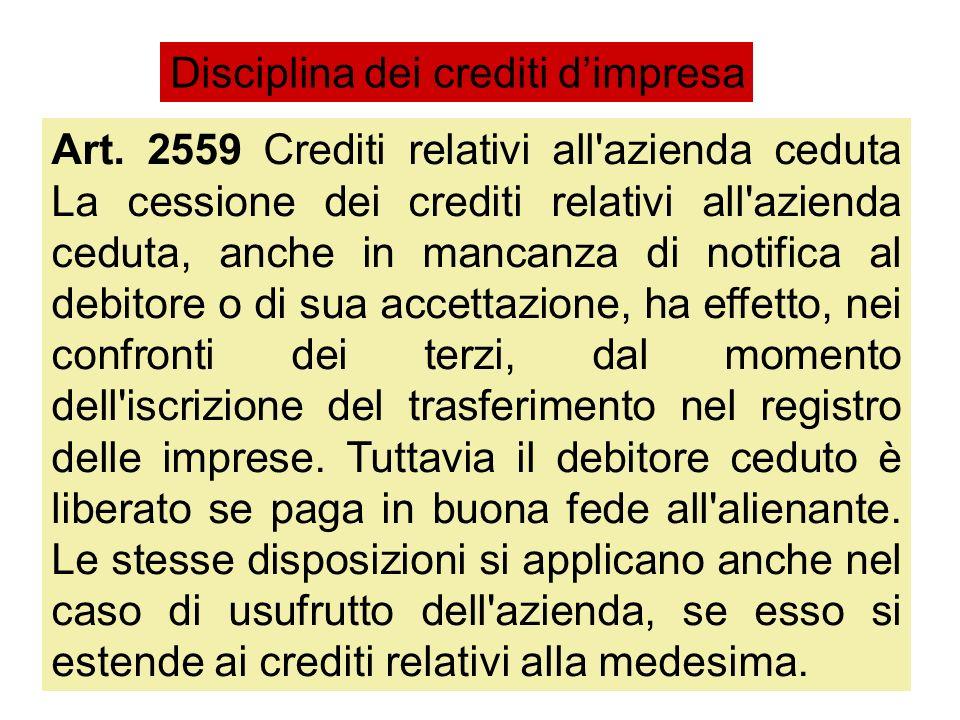 Disciplina dei crediti d'impresa