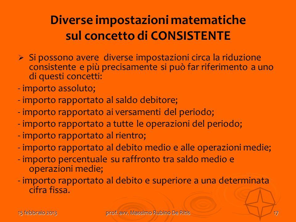 Diverse impostazioni matematiche sul concetto di CONSISTENTE
