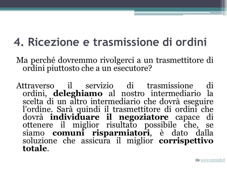 4. Ricezione e trasmissione di ordini