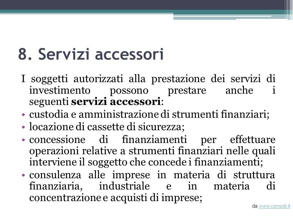 8. Servizi accessori I soggetti autorizzati alla prestazione dei servizi di investimento possono prestare anche i seguenti servizi accessori: