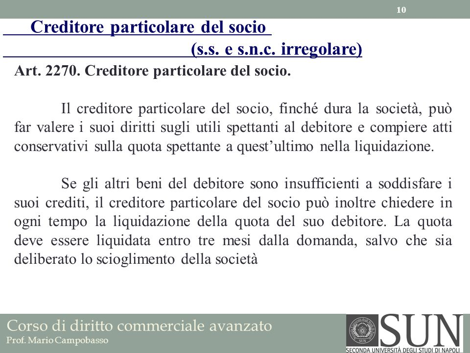 Creditore particolare del socio (s.s. e s.n.c. irregolare)
