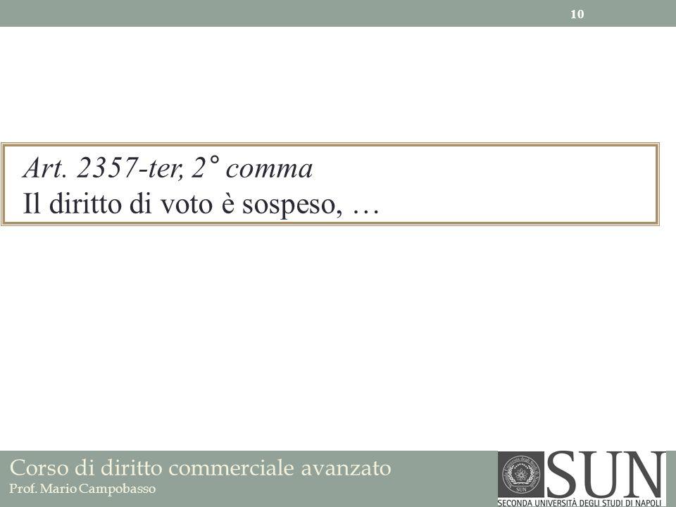 Art. 2357-ter, 2° comma Il diritto di voto è sospeso, …