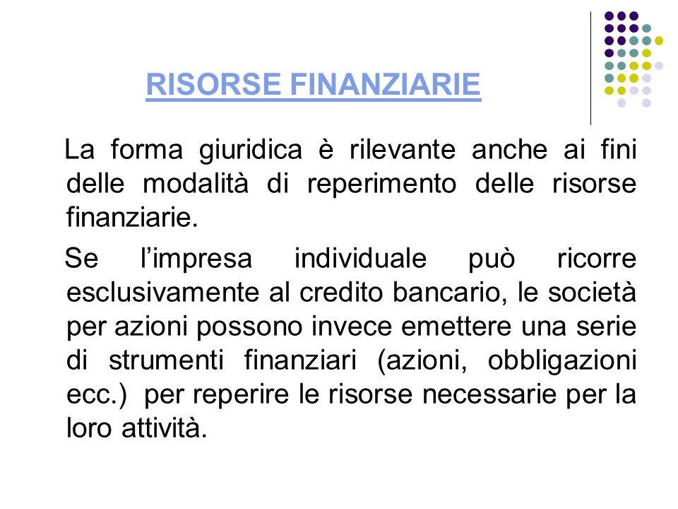 RISORSE FINANZIARIE La forma giuridica è rilevante anche ai fini delle modalità di reperimento delle risorse finanziarie.