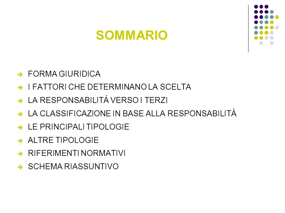 SOMMARIO FORMA GIURIDICA I FATTORI CHE DETERMINANO LA SCELTA