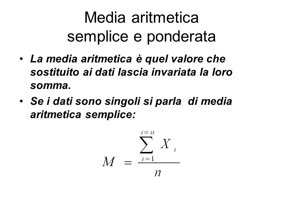 Media aritmetica semplice e ponderata