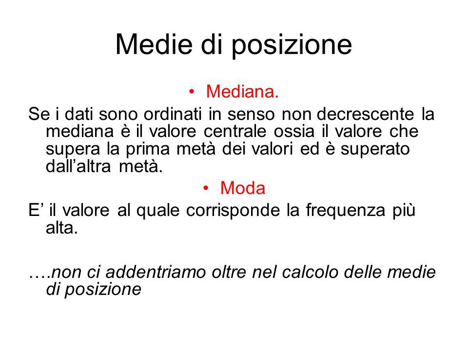 Medie di posizione Mediana.