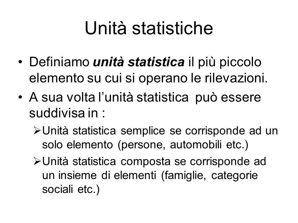 Unità statistiche Definiamo unità statistica il più piccolo elemento su cui si operano le rilevazioni.
