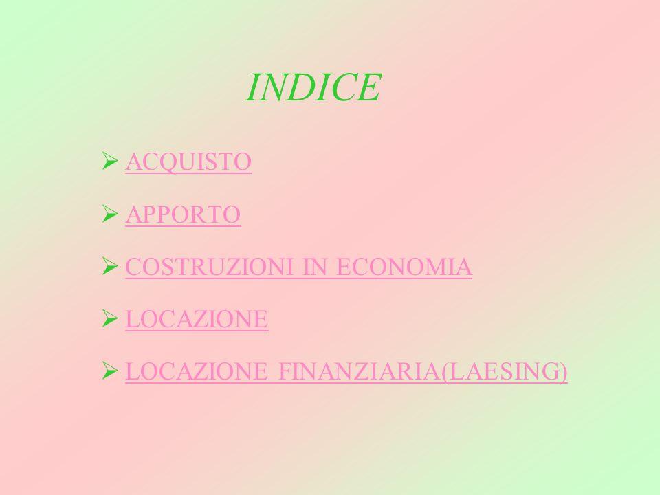 INDICE ACQUISTO APPORTO COSTRUZIONI IN ECONOMIA LOCAZIONE