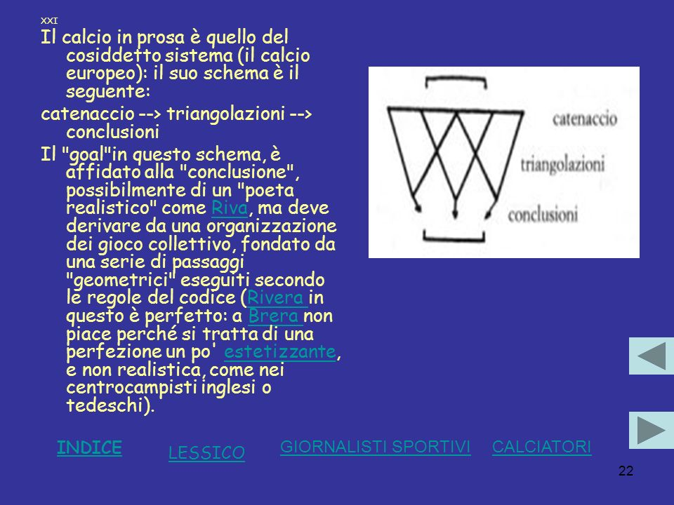 catenaccio --> triangolazioni --> conclusioni