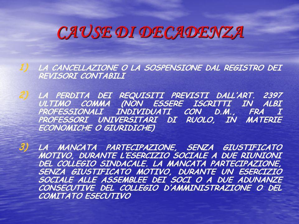 CAUSE DI DECADENZA LA CANCELLAZIONE O LA SOSPENSIONE DAL REGISTRO DEI REVISORI CONTABILI.