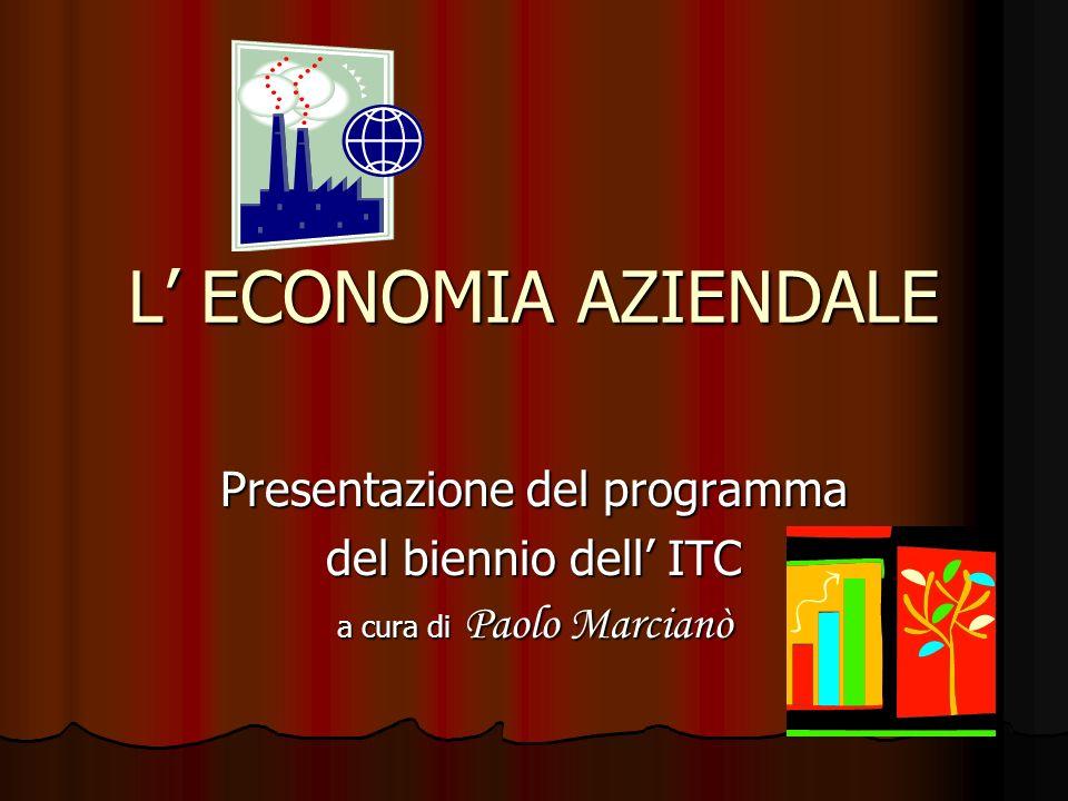 L' ECONOMIA AZIENDALE Presentazione del programma