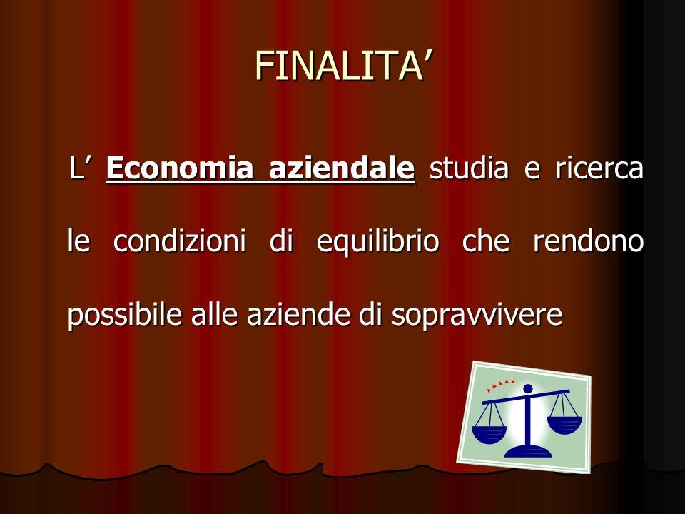 FINALITA' L' Economia aziendale studia e ricerca le condizioni di equilibrio che rendono possibile alle aziende di sopravvivere.