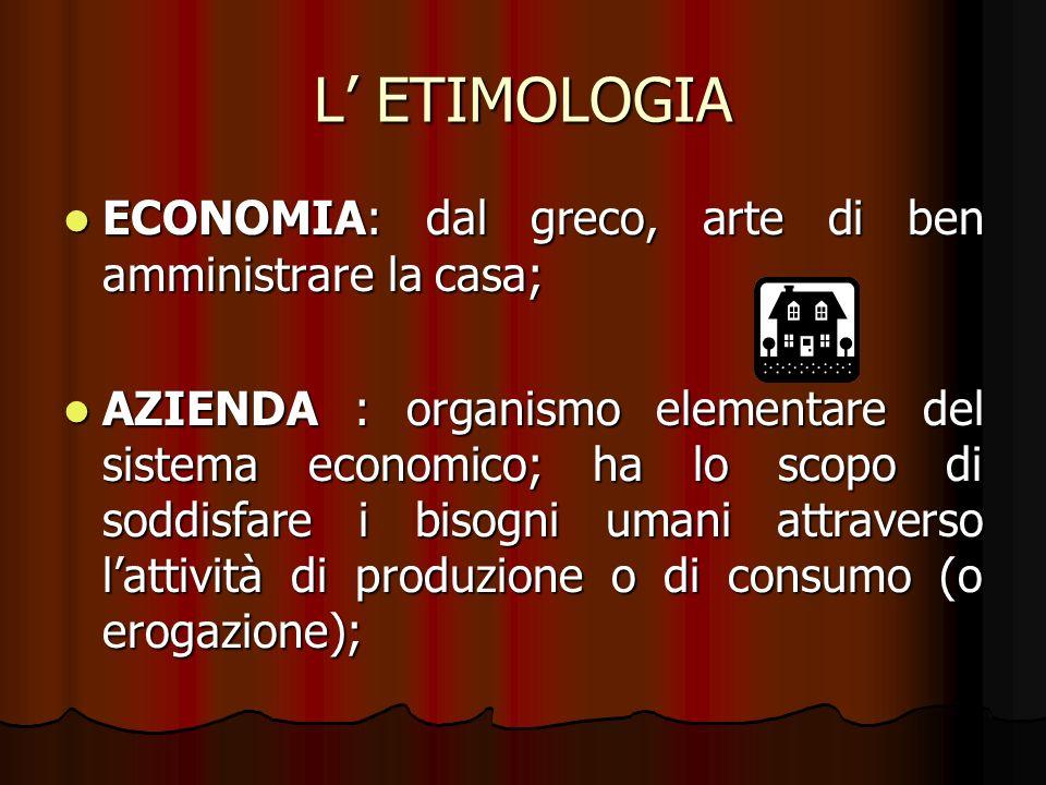 L' ETIMOLOGIA ECONOMIA: dal greco, arte di ben amministrare la casa;