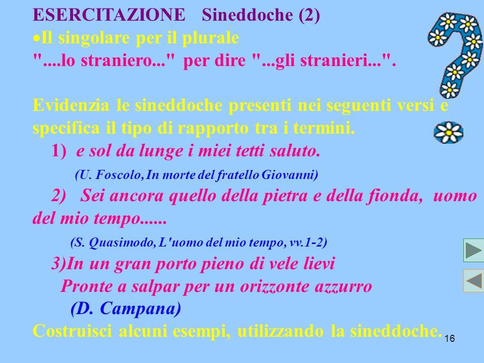 ESERCITAZIONE Sineddoche (2)