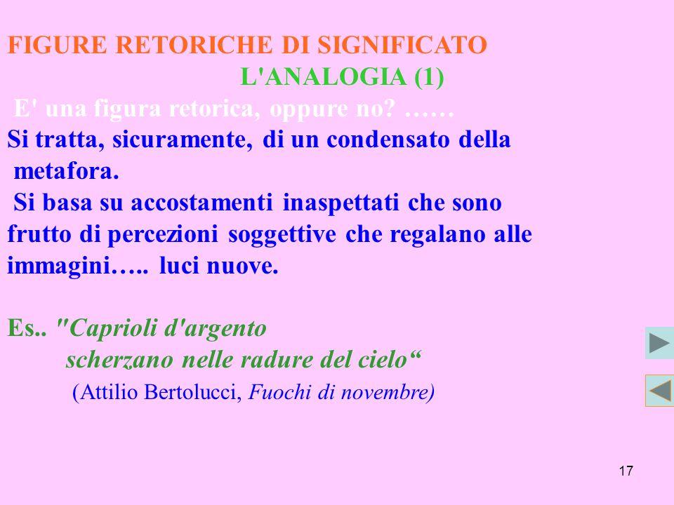 FIGURE RETORICHE DI SIGNIFICATO
