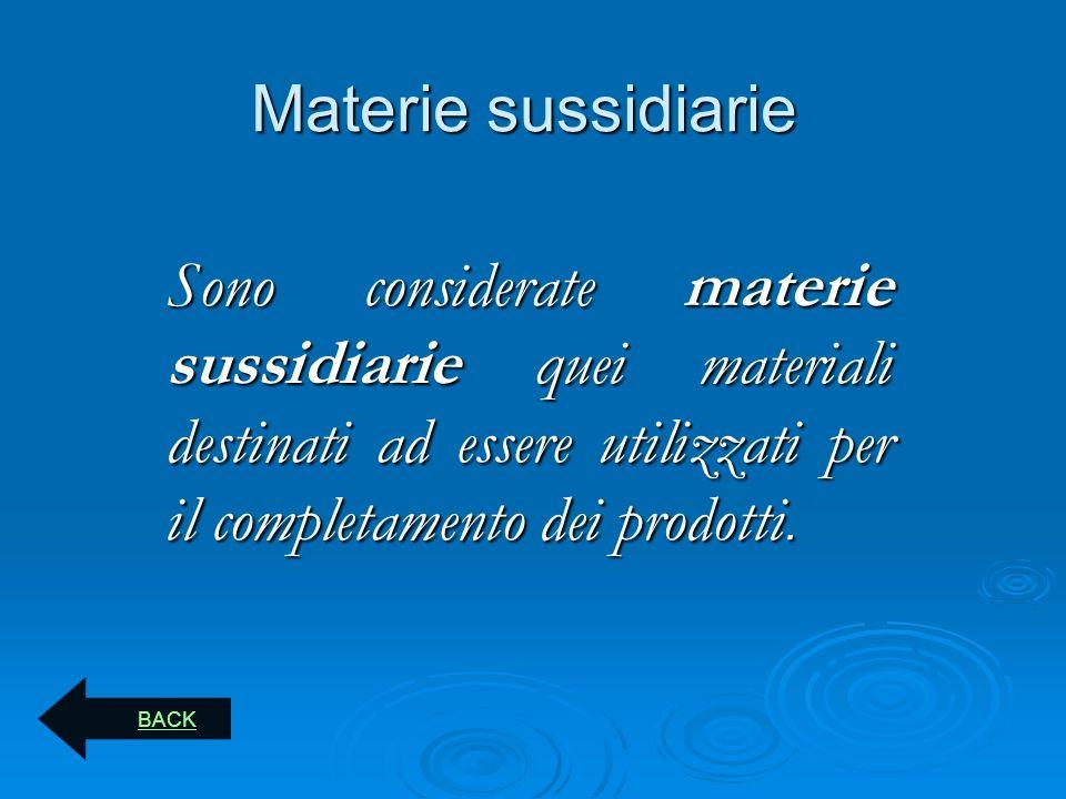 Materie sussidiarie Sono considerate materie sussidiarie quei materiali destinati ad essere utilizzati per il completamento dei prodotti.