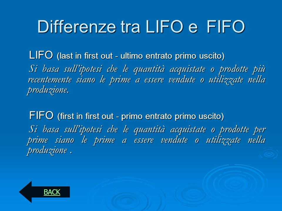 Differenze tra LIFO e FIFO