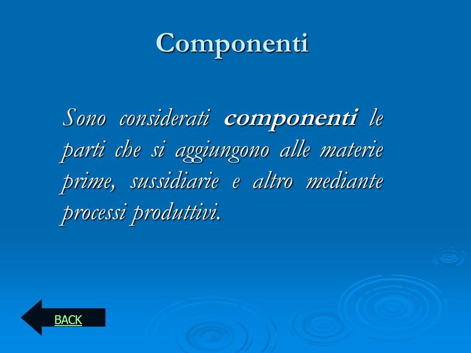 Componenti Sono considerati componenti le parti che si aggiungono alle materie prime, sussidiarie e altro mediante processi produttivi.