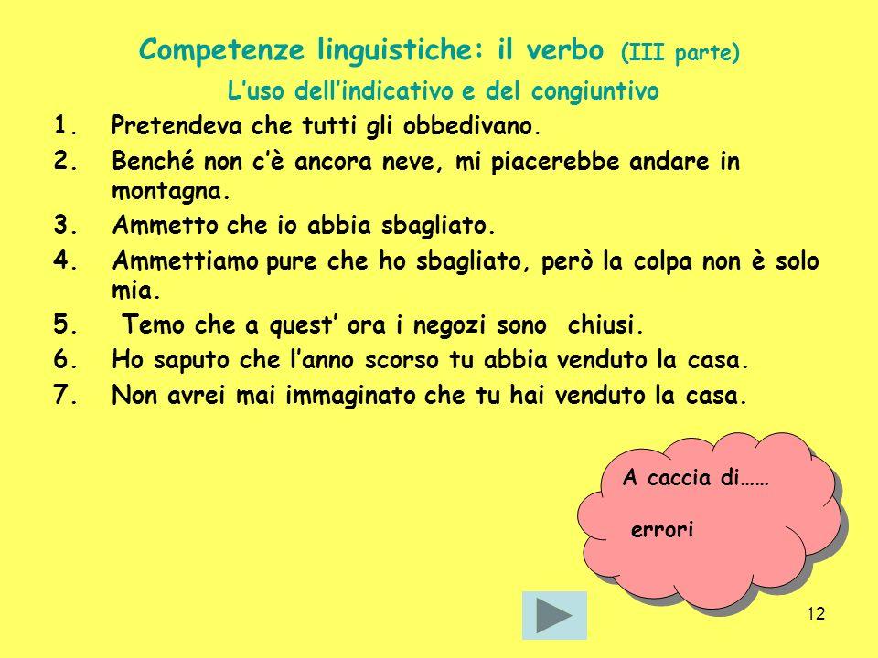 Competenze linguistiche: il verbo (III parte)