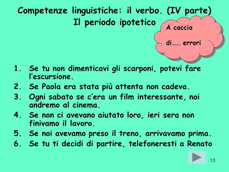 Competenze linguistiche: il verbo. (IV parte)