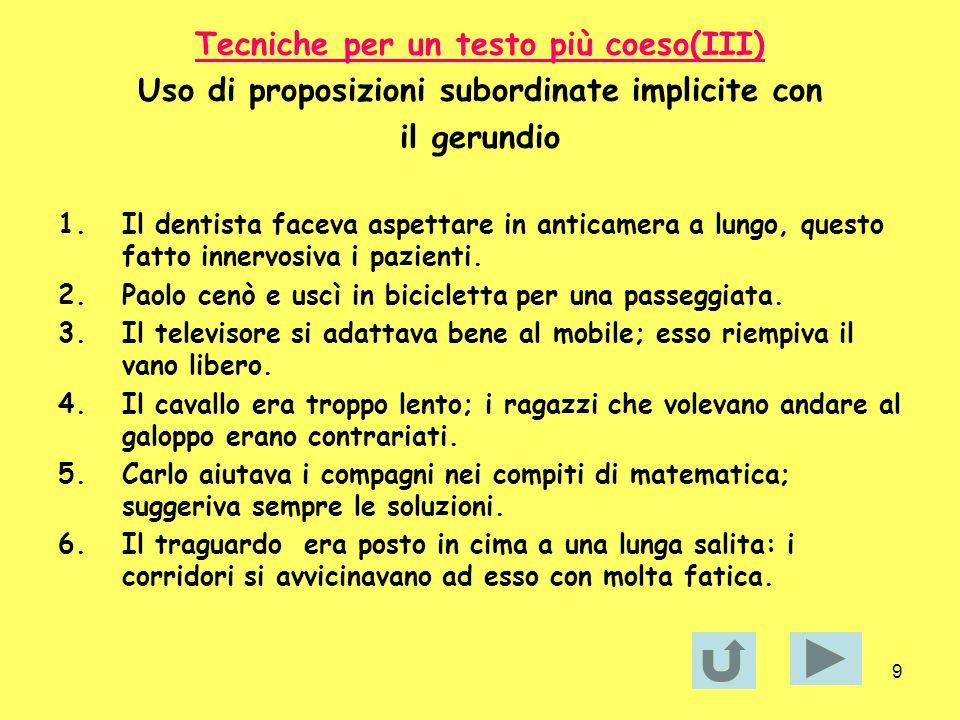 Tecniche per un testo più coeso(III)