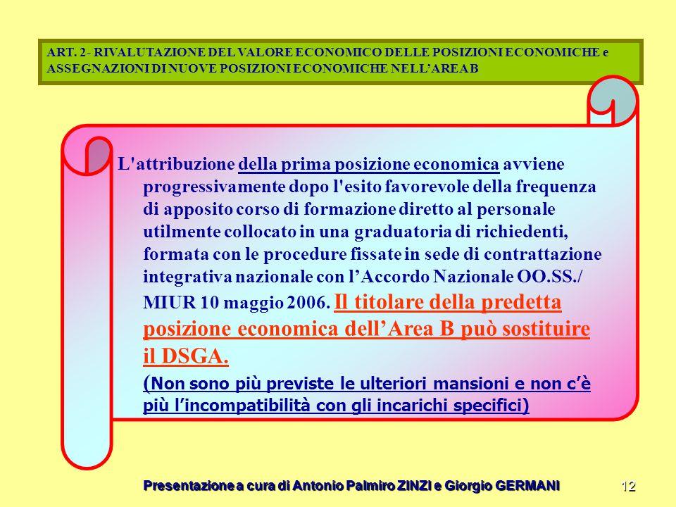 ART. 2- RIVALUTAZIONE DEL VALORE ECONOMICO DELLE POSIZIONI ECONOMICHE e ASSEGNAZIONI DI NUOVE POSIZIONI ECONOMICHE NELL'AREA B