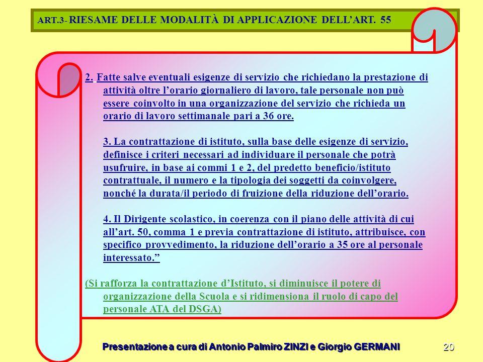 ART.3- RIESAME DELLE MODALITÀ DI APPLICAZIONE DELL'ART. 55