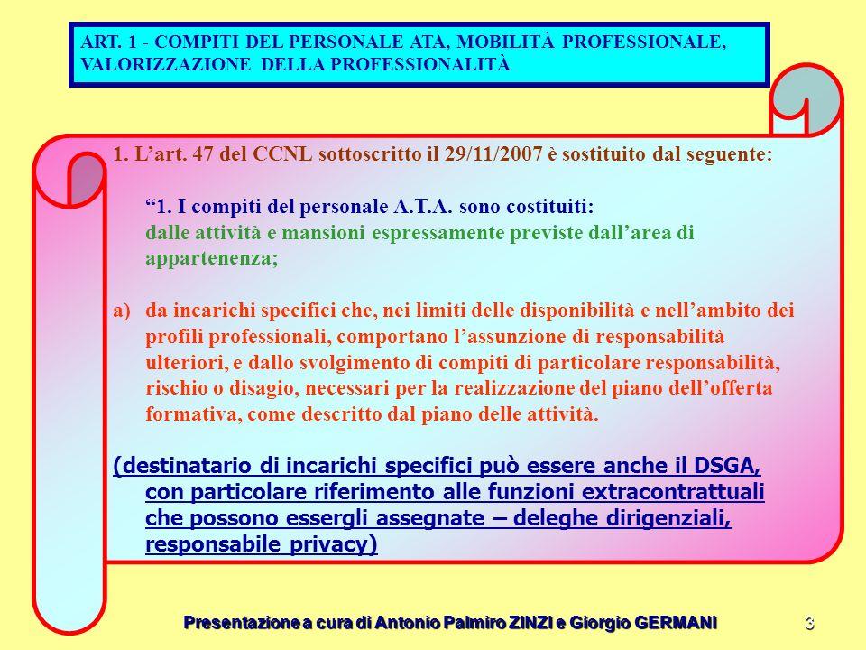 ART. 1 - COMPITI DEL PERSONALE ATA, MOBILITÀ PROFESSIONALE, VALORIZZAZIONE DELLA PROFESSIONALITÀ