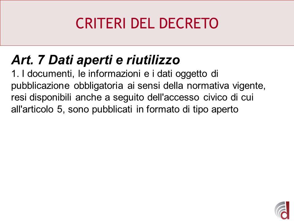 CRITERI DEL DECRETO Art. 7 Dati aperti e riutilizzo