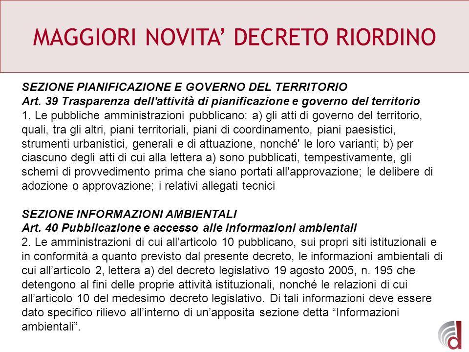 MAGGIORI NOVITA' DECRETO RIORDINO