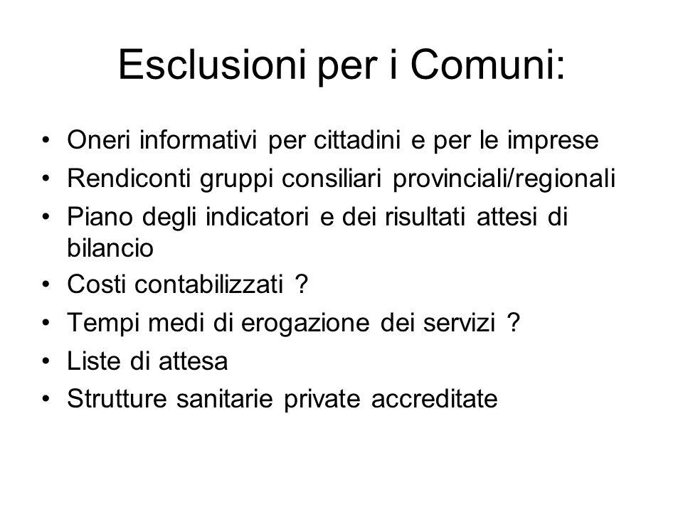 Esclusioni per i Comuni: