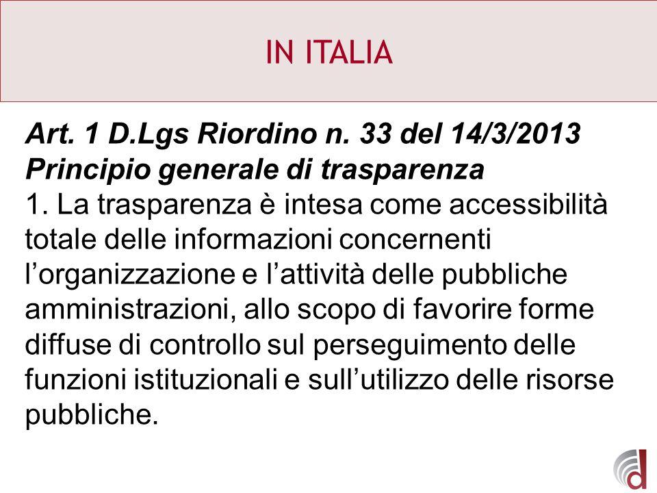 IN ITALIA Art. 1 D.Lgs Riordino n. 33 del 14/3/2013