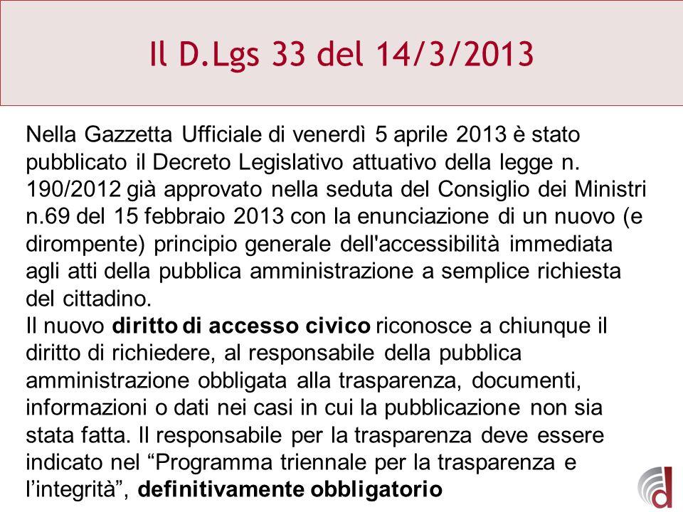 Il D.Lgs 33 del 14/3/2013