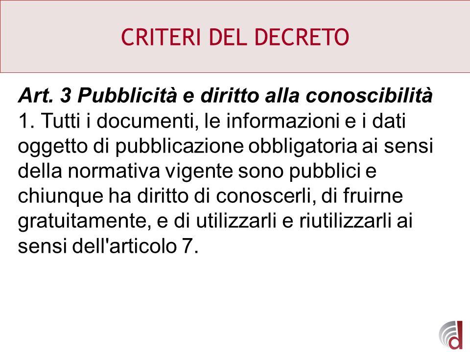 CRITERI DEL DECRETO Art. 3 Pubblicità e diritto alla conoscibilità