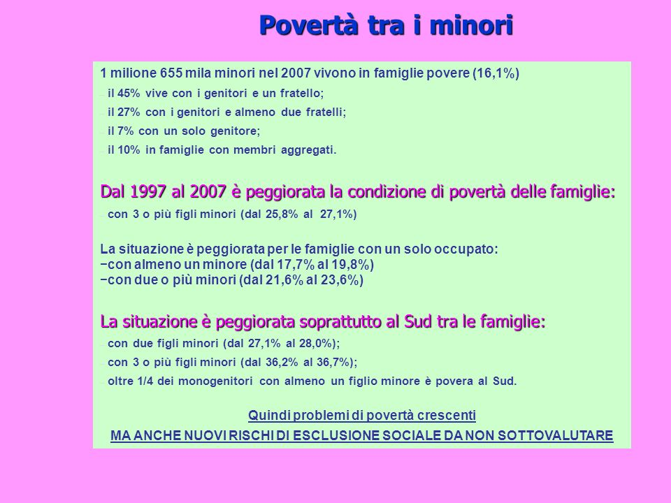 Povertà tra i minori 1 milione 655 mila minori nel 2007 vivono in famiglie povere (16,1%) il 45% vive con i genitori e un fratello;