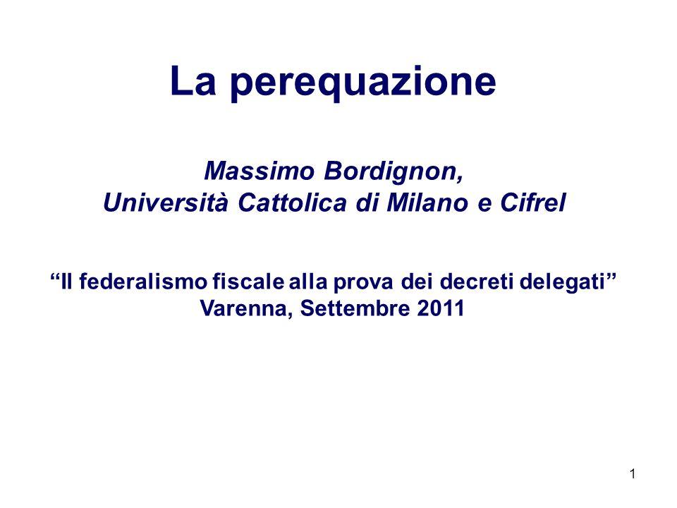 La perequazione Massimo Bordignon,